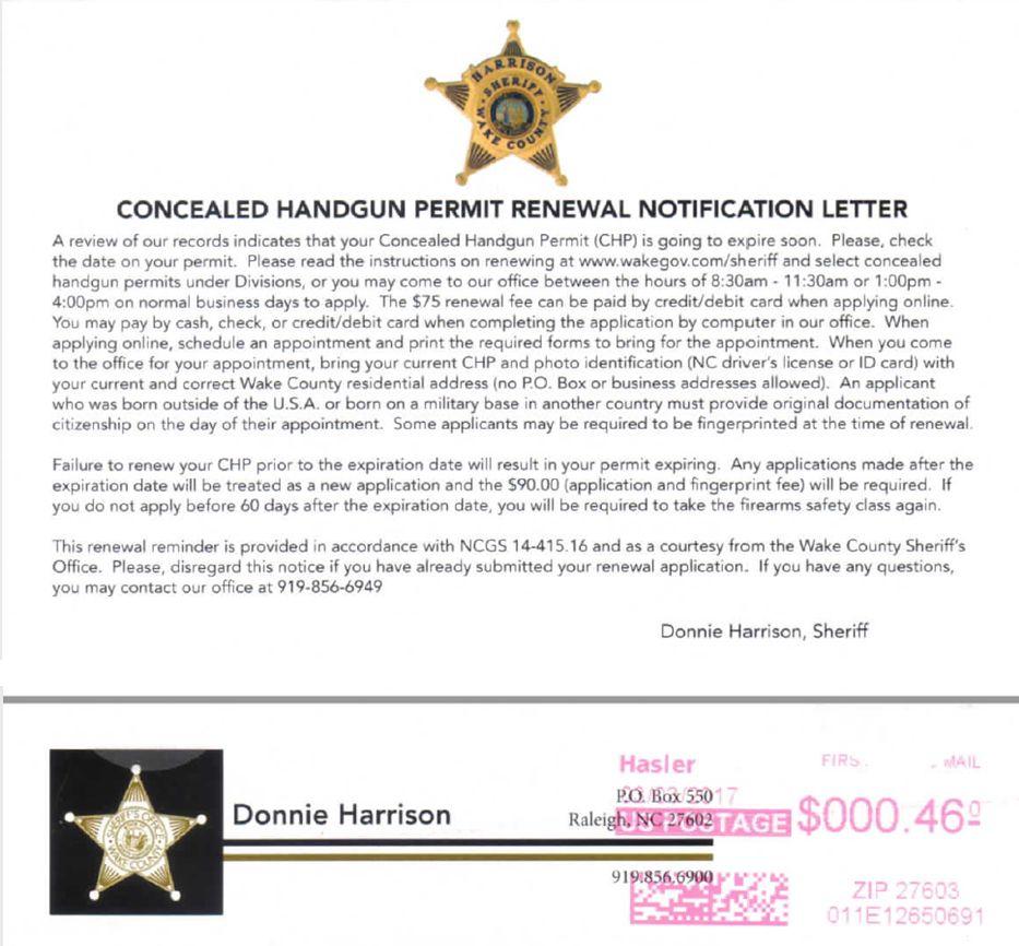 Concealed Handgun Permit Renewal Notification Letter | Girl